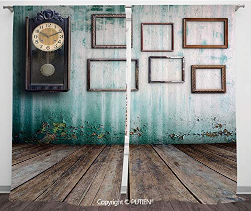 (Satin Window Drapes Curtains [ Clock Decor,A Vintage Clock and Empty Picture Frames in an Old Room Wooden Backdrop,Green and Brown ] Window Curtain Window Drapes for Living Room Bedroom Dorm Room Clas)