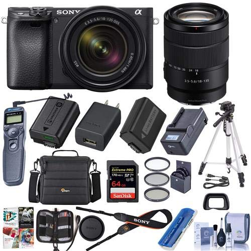 Sony Alpha a6400 24.2MP Mirrorless Digital Camera with 18-135mm f/3.5-5.6 OSS Lens – Bundle with Camera Case, 64GB SDHC Card, 55mm Filter Kit, Tripod, Spare Battery, Remote Shutter Trigger, and More