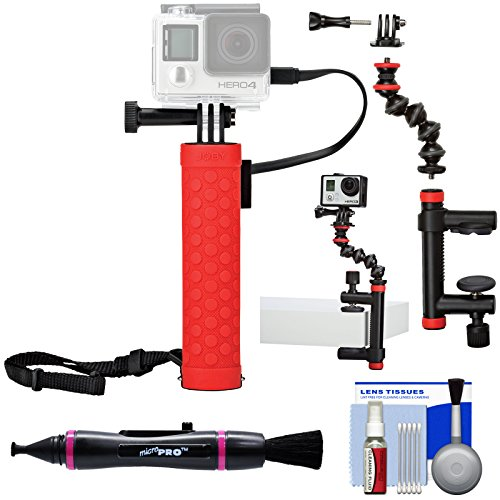 Joby Rechargeable Battery Hand Grip Monopod for Action Cameras & Smartphones with Clamp and GorillaPod Arm + Kit for GoPro and Action Cameras