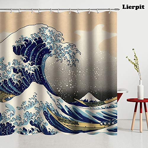 Lierpit Ocean Nautical Shower Curtain,The Great Wave Off Kanagawa bathroom curtain,Japanese Hokusai Painting printed,Mount Fuji,bedroom shower curtain decor,69x70 inches Sailboat Window shower curtain