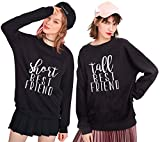 BFF Sweatshirts for 2 Girls Tall Short Best Friends Sweater Woman Pullover for Teen Girls Crewneck Black White Gift 2 Pieces(Black,Short-XL+Tall-XL)