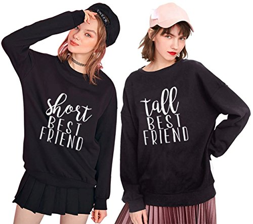 BFF Sweatshirts for 2 Girls Tall Short Best Friends Sweater Woman Pullover for Teen Girls Crewneck Black White Gift 2 Pieces(Black,Short-XL+Tall-XL) by Best Friend Clothing