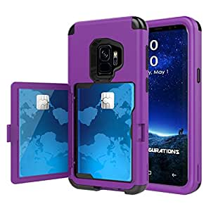 Galaxy S9 Case, Hidden Door Slim Wallet Case, Fits 2 Cards and Cash, Reinforced Drop Bumper Protection, Open Mirror, Front Frame Screen Protection For Samsung Galaxy S9 (2018) - Purple