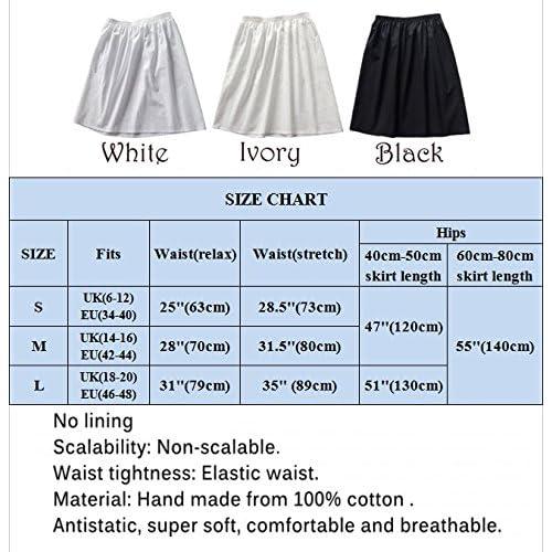 13ba6facc1b Femme Jupon Lingerie Sous-Jupe Robe Coton Blanc Noir Ivoire Court Mi-long  Pour