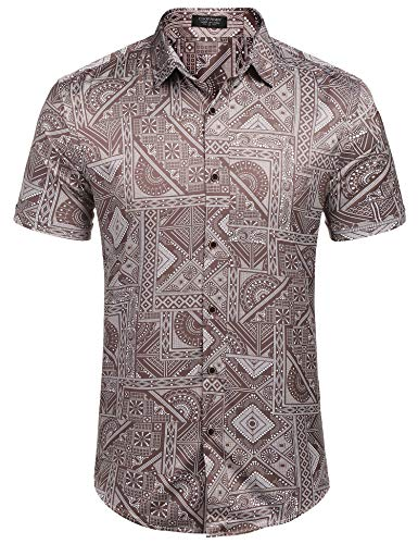 (COOFANDY Men's Relaxed-Fit Short Sleeve Vintage Print Casual Hawaiian Shirt (Light Coffee XXL))