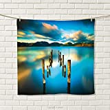 smallbeefly Turquoise Hand Towel Surreal Landscape with Wood Deck and Clouds in Sky Dreamlike Coastal Charm Quick-Dry Towels Turquoise White Size: W 20'' x L 38''