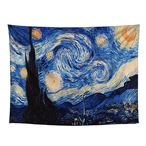 Impressions Wall Tapestry - YAMUDA Starry Night Tapestry, Hippie Galaxy Tapestry, psychedelics Van Gogh Impression Art Tapestry, Apartment Wall Hanging Tapestry Collection, Bedroom, Living Room, Bedroom Tapestry