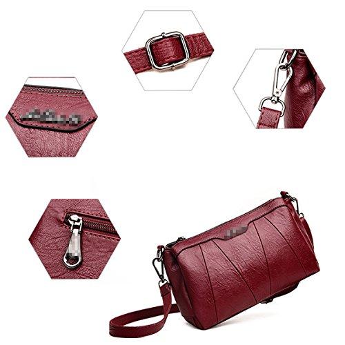 Zipper à Mini Pour Bag Satchel Les Main Lady Sac Stripe Pu Mode Multicolore Cuir En Sac Femmes Bandoulière Tote Red à Crossbody 7qCWPw06