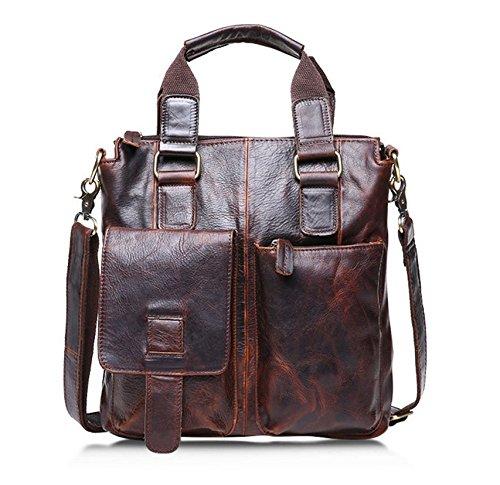 Men's Vintage Crazy Horse Genuine Cow Leather Business Bag A4 Work Tote Briefcase Messenger Bag Shoulder Bag, Fit 11