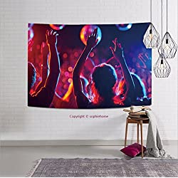 sophiehome-316810985 Group of young people with raised arms dancing in night club tapestry wall hanging magical thinking tapestry 80W x 59L Inches