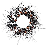 One Holiday Way 24-Inch Black and Orange Halloween Wreath with Mini Pumpkins and Leaves - Hanging Halloween Decoration