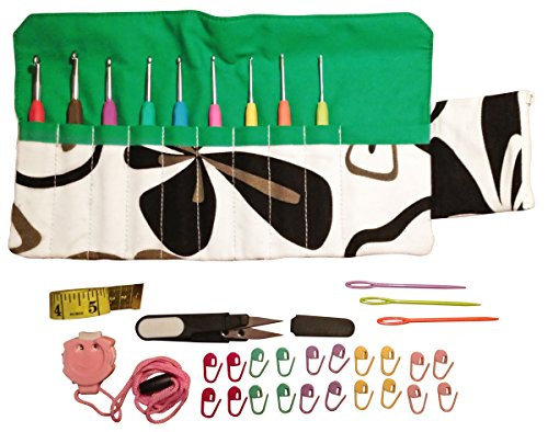 Sparkling Pumpkin 36pcs Crochet Set - Ergonomic Crochet Hook Set with Multiple Accessories – Green Floral Hook Case, Yarn Needles, Stitch Markers, Measuring Tape, Yarn Snips & More! by Sparkling Pumpkin