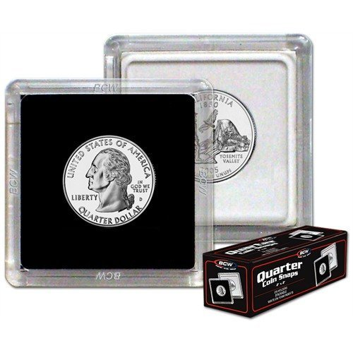 NEW BCW 2X2 COIN SNAP - QUARTER - BLACK - PACK OF TEN