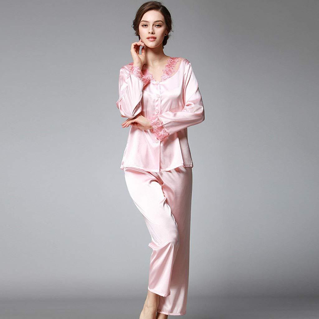 PASHY Nightwear for Women Set Fashion Silk Womens Solid Color Satin Button-Down Lace Pajamas Set Sleepwear