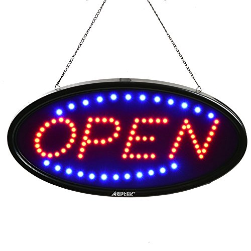 LED Sign Open, AGPtek 19x10inch LED Business Open Sign Advertisement Board Electric Display Sign, Two Modes Flashing & Steady Light, for Business, Walls, Window, Shop, bar, Hotel