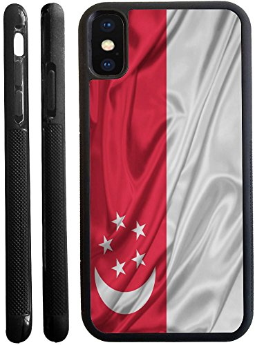 Rikki Knight Singapore Flag Design iPhone X hybrid TPU Case Cover (Black Rubber with front bumper protection) for iphone - Amazon Ship Singapore To
