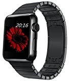 top4cus 38mm Whole Part Double Electroplating 1:1 Mold Stainless Steel Replacement Link Bracelet Band with Double Button Folding Clasp Apple Watch Band for Apple Watch 38mm - black