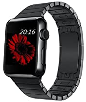 top4cus 42mm Whole Part Double Electroplating 1:1 Mold Stainless Steel Replacement Link Bracelet Band with Double Button Folding Clasp Apple Watch Band for Apple Watch 42mm - black