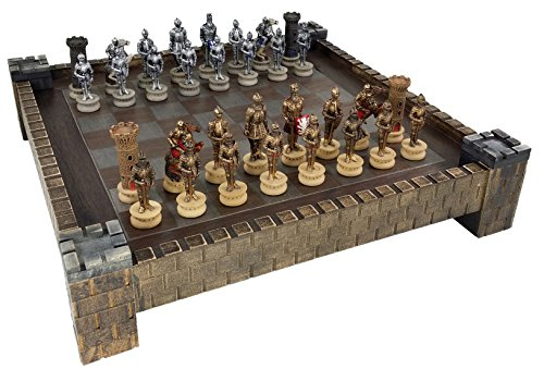 Golden Castle (Medieval Times Armored Warrior Knights Gold & Silver Chess Set w/ 17