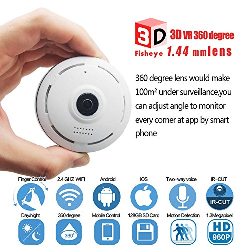 360 Degree Fisheye Panoramic IP Camera 1.3 Megapixel 960P Wireless Wifi 2.4GHZ Security Camera Super Wide Angle Support IR Night Motion Detection Keep Your Pet & Home Safe Include 32GB Micro SD Card (Infrared Sensor Smartphone compare prices)