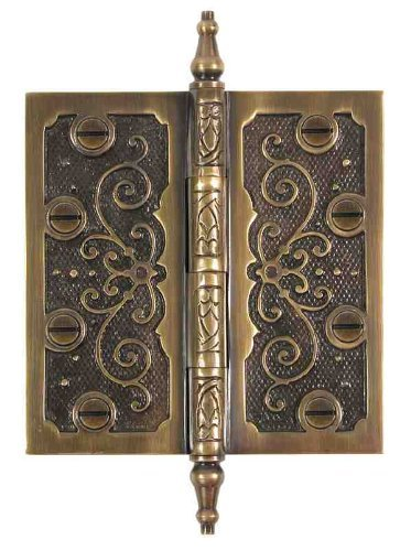 Brass Elegans LF003AB Solid Brass Lafayette Design 3.5-Inch Decorative Door Hinge with Brass Screws, Antique Brass Finish ()