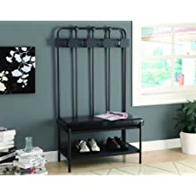 Monarch Specialties Metal Hall Entry Bench, 60-Inch, Charcoal Grey