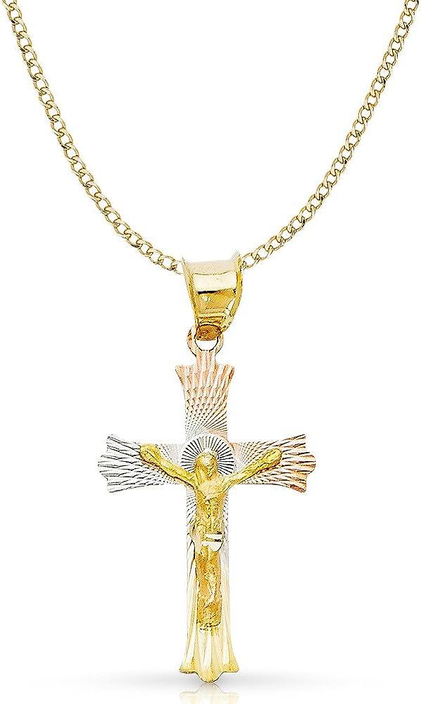 14K Tri Color Gold Diamond Cut Crucifix Jesus Cross Stamp Charm Pendant with 2.3mm Hollow Cuban Chain Necklace