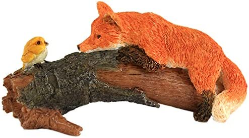 Top Collection Miniature Fairy Garden and Terrarium Playful Red Fox with Bird