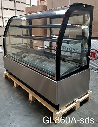 71 Inch Display Case 27 Cu. Ft. Refrigerated Cold Deli Bakery Cake Pie Pastry Curved Glass Front Showcase LED Lighting Commercial Grade Restaurant - GL860A - 27' Cabinet