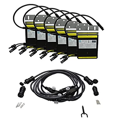 Image of AIMS Power 250 Watt Micro Grid Tie Inverters with Trunk Cables, 6 Pack Easy Installation Connect to 240V Outlet or Panel UL, CEC, CSA Cert