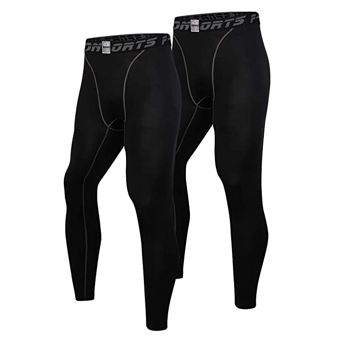 93bc8a1406 EU Men's Compression Tight 2 Pack Pants Base Layer Sports Leggings(Black  L/Tag