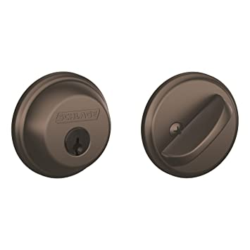 schlage b60n613 deadbolt keyed 1 side oil rubbed bronze door