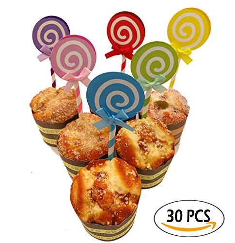 A Little Lemon 36 PCS Assorted Colors Lollipop Birthday Party Cupcake Toppers Baby Shower Decors