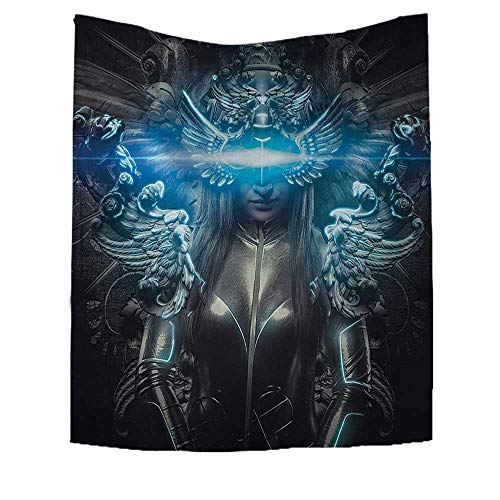 RuppertTextile Fantasy World Wall Tapestry Princess in Royal Gothic Silver Dress Futuristic Female Goddess Deity Muse Image Home Decorations for Living Room Bedroom 54W x 84L INCH Grey