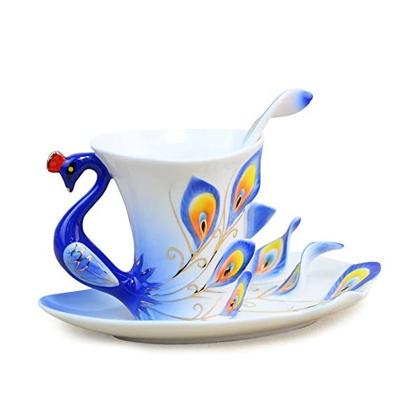 vanki 1 pc Collectable Fine Arts China Porcelain Tea Cup and Saucer Coffee Cup Peacock...