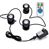 FOEERS Submersible 3pcs Pond Lights for Water Fountain Fish Pond Water Garden Swimming Pool Aquarium Lighting