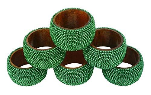ShalinIndia Handmade Indian Green Aluminum Ball Chain Wooden Napkin Rings Set of 8 - Table Dinner Decoration by ShalinIndia