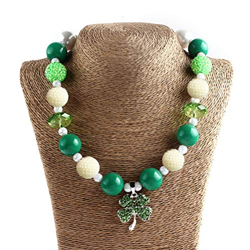Amosfun St Patrick's Day Necklace Shamrock Beaded Necklace Irish Party Favor Costume 45cm ()