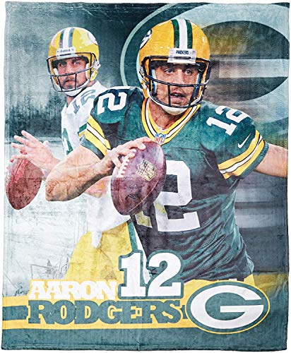 The Northwest Company Officially Licensed NFL Green Bay Packers Aaron Rodgers Players HD Silk Touch Throw Blanket, 50