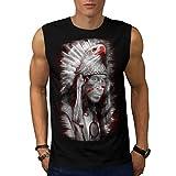 Tribal Indian Man Eagle Head Men NEW Black S-2XL Sleeveless T-shirt | Wellcoda