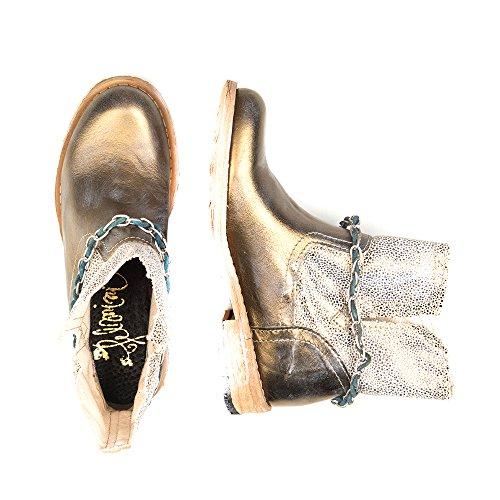 Felmini - Zapatos para Mujer - Enamorarse com Gredo 8206 - Botas Cowboy & Biker - Tela + Cuero Genuino - Oro - 0 EU Size Oro