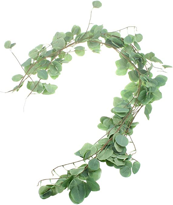 Artificial Silver Dollar Eucalyptus Garland Faux Silk Leaf Vine Greenery Wedding