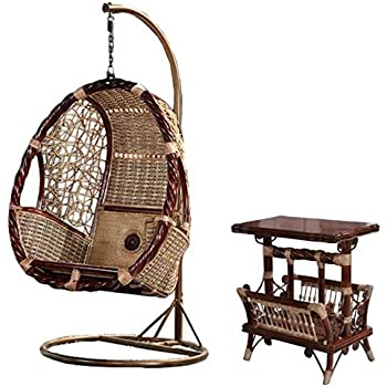 Natural Bamboo   Rattan Wicker Swing Set / Trapeze / Hanging Chair Suite /  Longue /