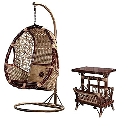 Amazon Com Natural Bamboo Rattan Wicker Swing Set Trapeze