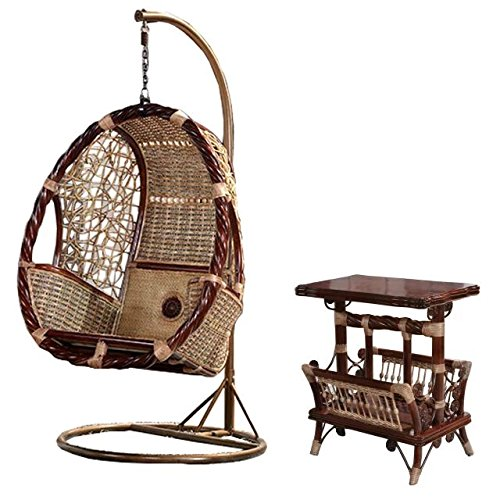 tan wicker swing set / trapeze / hanging chair suite / longue / seat / settee / seater / couch / chair / coffee table / tea table / teapoy / side table / end table (Days End Glider Chair)