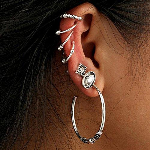 Jarsh Bohemia Style Vintage Hoop Earring Set Elegant Ear Stud Earring Creative Jewelry (Vintage Silverware Silver Jewelry Earring)