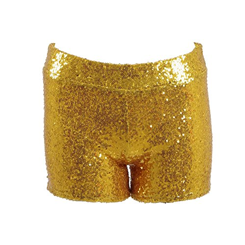 [Dream-Store Women's metallic booty shorts sexy sequins Dancing Rave Festival costumes (XS, Gold)] (Dance Festival Costumes)