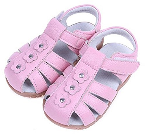 26e2d80a84757 Dream-studio comfort soft baby sandals toe guard cute flower with Girls  Genuine Leather Solid Flower Sandals (12 M US Toddler, Pink)