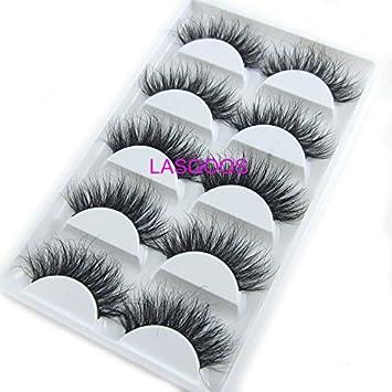 005a1deac66 Amazon.com : Popular Luxurious 100% Siberian Mink Fur 3D False Eyelash  LASGOOS Degisn Natural Messy Long Volume Fake Eyelashes 5 Pairs/Box (A115)  : Beauty