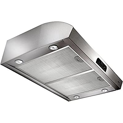 "Broan Evolution QP4 Series QP430SS 30"" High Performance Under-Cabinet Range Hood 4 Halogen with Theater-Style Transitions Easy-to-clean Advanced Heat Sentry: Stainless"